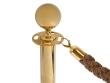 Arany színű kordonoszlop, bronz színű kötéllel