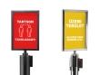 A4 méretű információs táblák fekete és króm színben